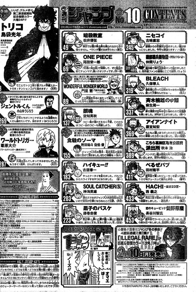 Sommaire du Weekly Shonen Jump 2014 #10