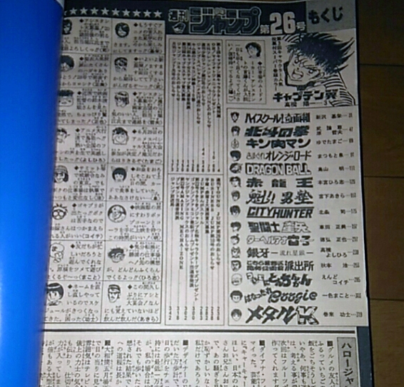 Weekly Shonen Jump 1986 #26 Sommaire