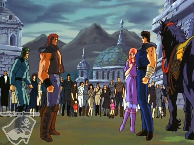 Shôki invite Kenshiro et Yuria mourante à rester dans son village !
