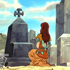 Mamiya sur la tombe de Rei
