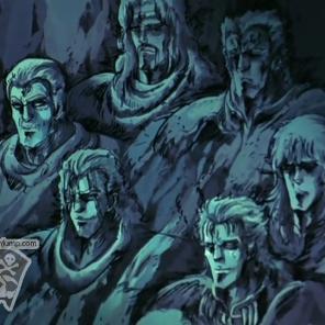 Les combattants du Hokuto et du Nanto grâvé dans la roche !